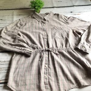 Merona button tumic..XL..taupe/maroon plaid